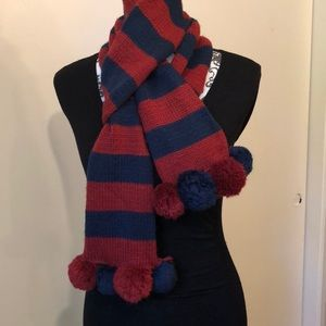 Blue and burgundy striped scarf